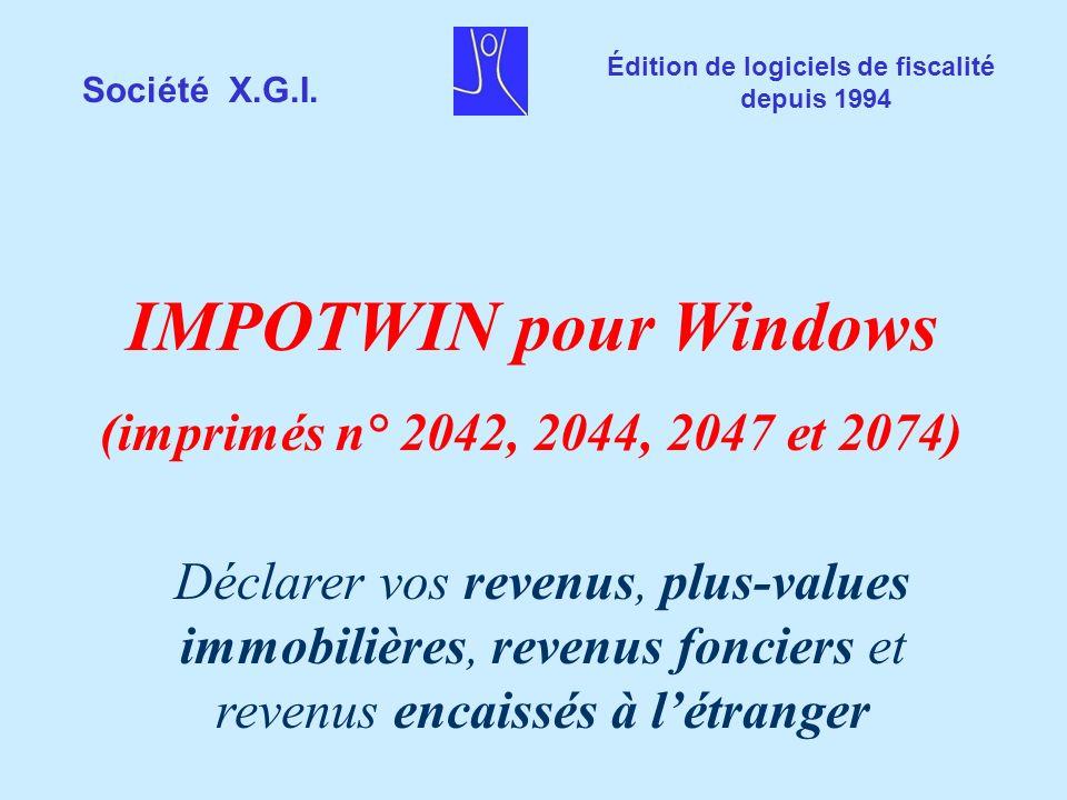 IMPOTWIN pour Windows (imprimés n° 2042, 2044, 2047 et 2074)