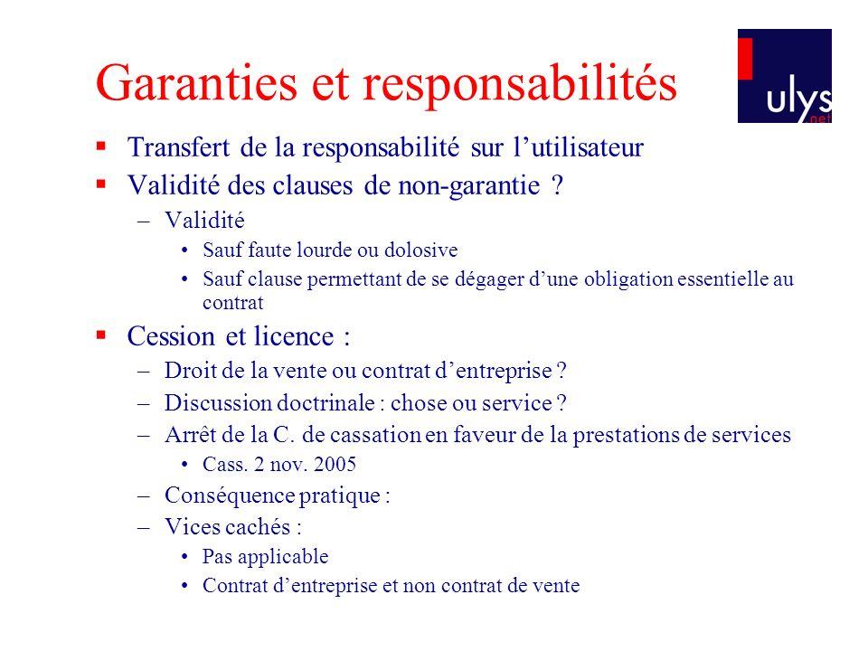 Garanties et responsabilités
