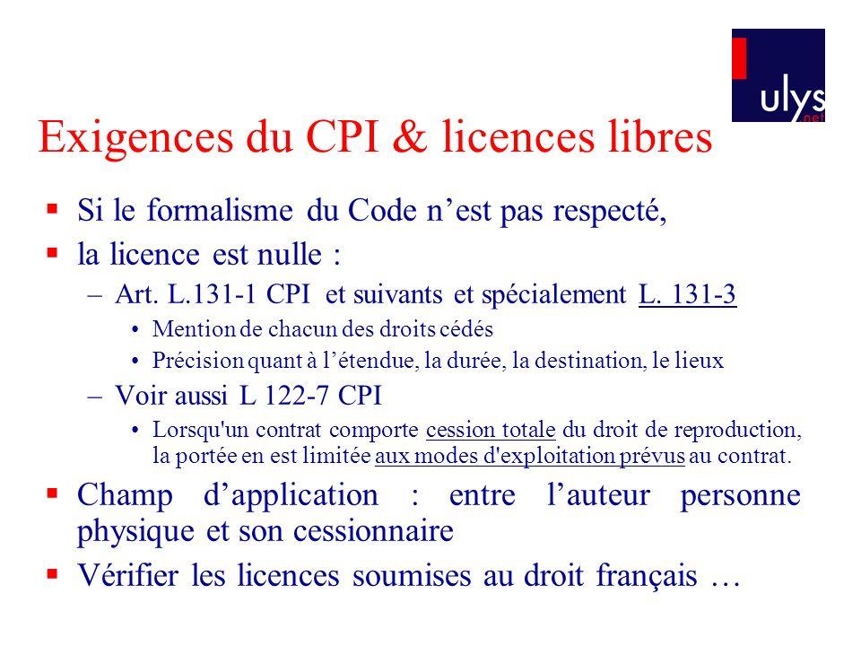 Exigences du CPI & licences libres