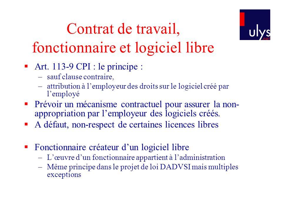 Contrat de travail, fonctionnaire et logiciel libre