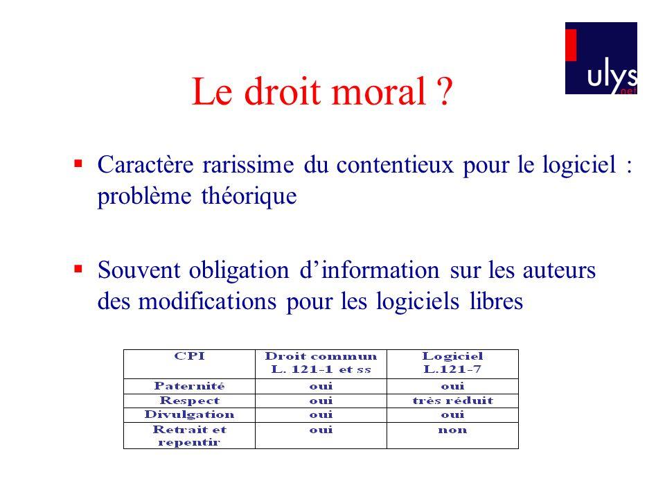 Le droit moral Caractère rarissime du contentieux pour le logiciel : problème théorique.