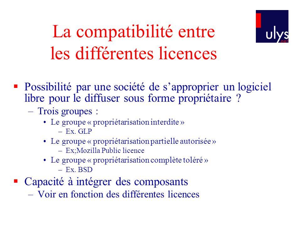 La compatibilité entre les différentes licences