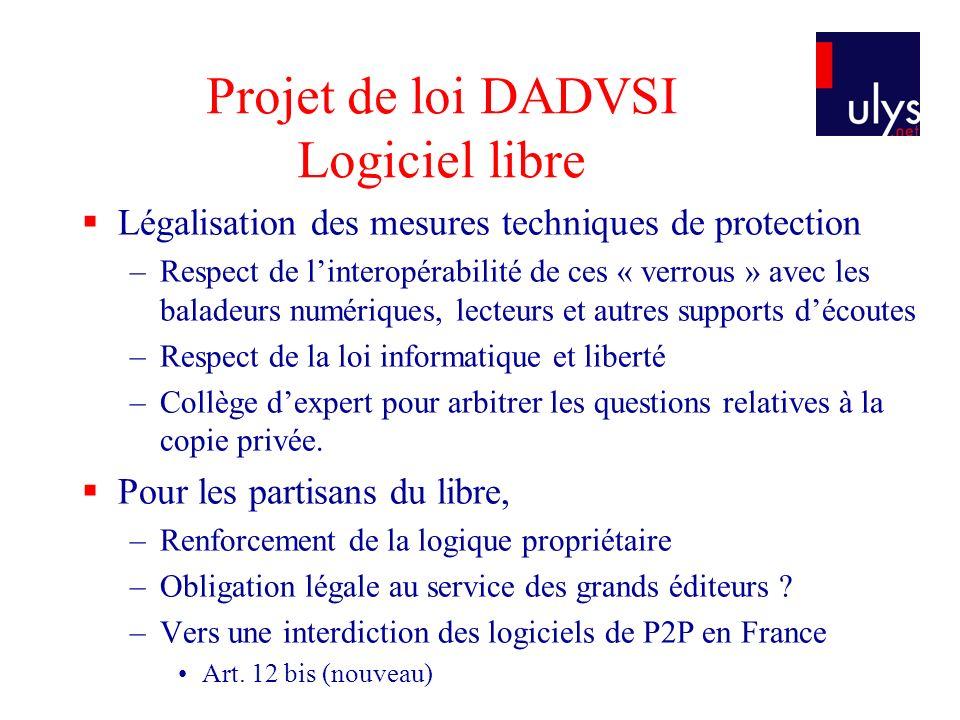 Projet de loi DADVSI Logiciel libre