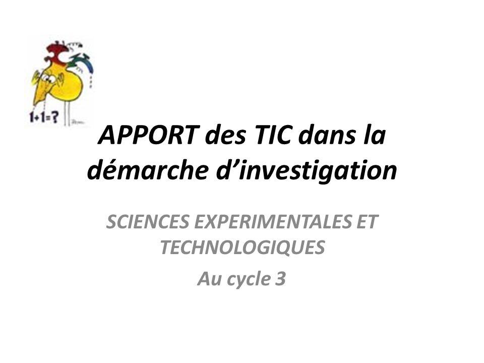 APPORT des TIC dans la démarche d'investigation