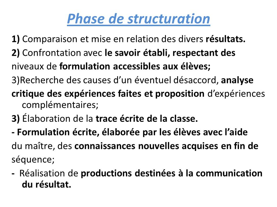 Phase de structuration