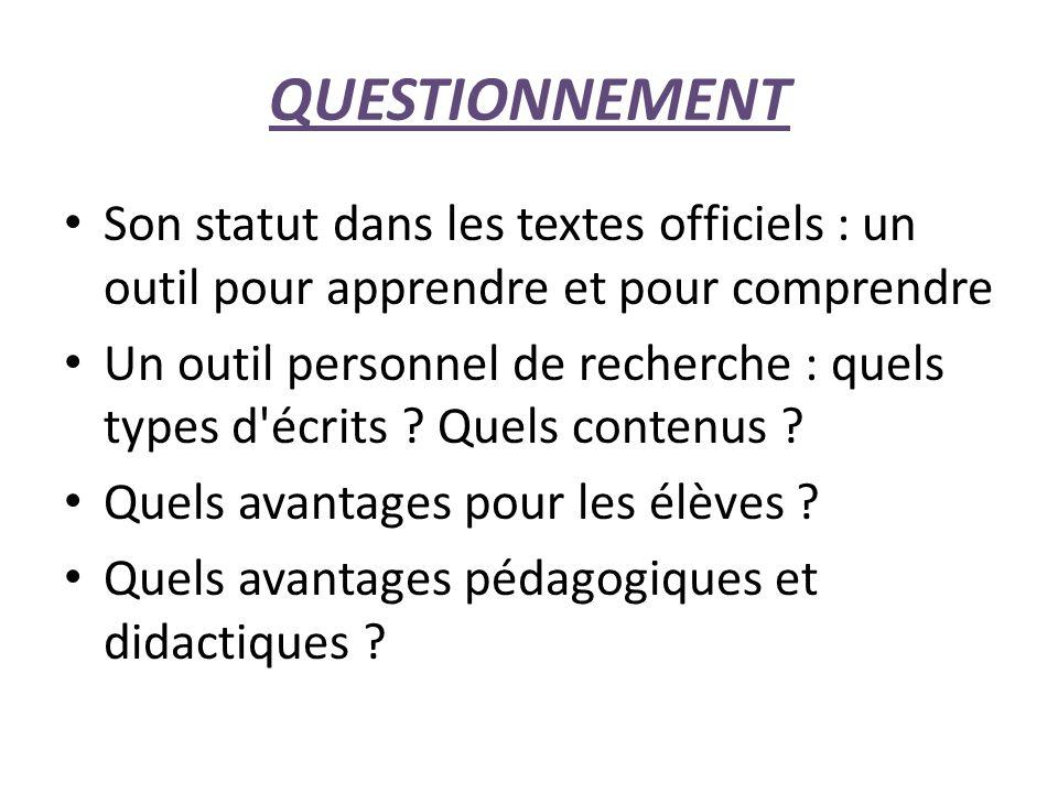 QUESTIONNEMENT Son statut dans les textes officiels : un outil pour apprendre et pour comprendre.