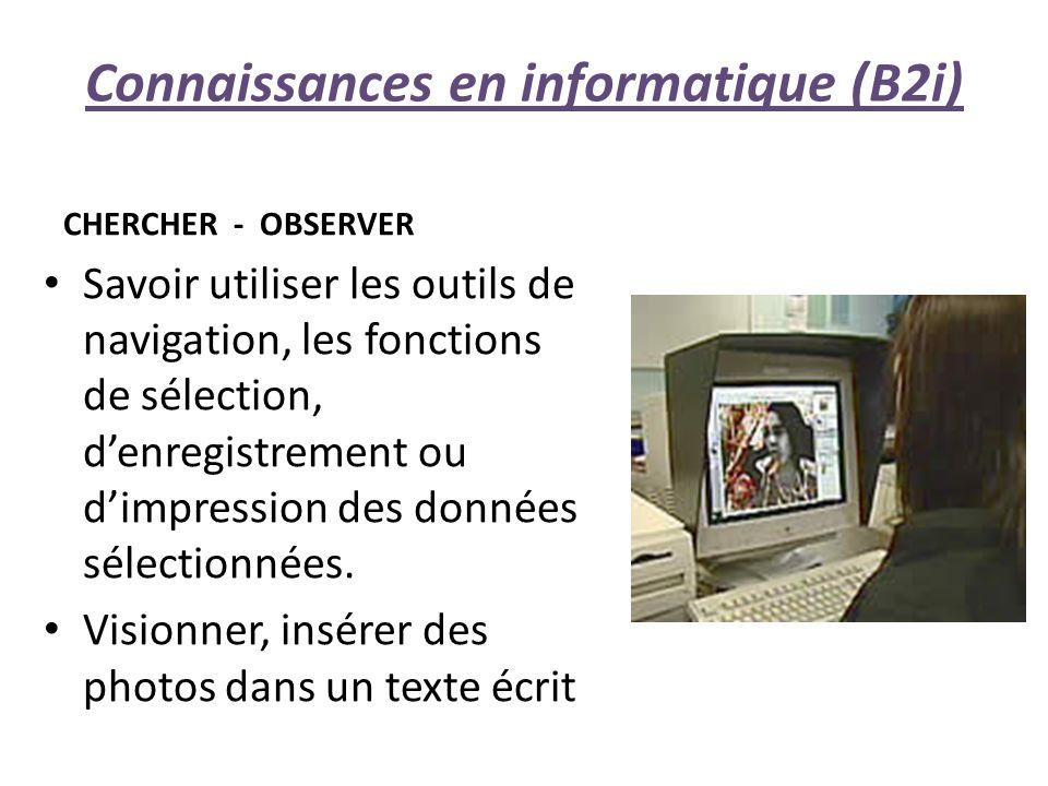 Connaissances en informatique (B2i)
