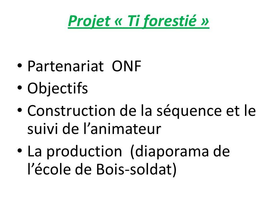Projet « Ti forestié » Partenariat ONF. Objectifs. Construction de la séquence et le suivi de l'animateur.