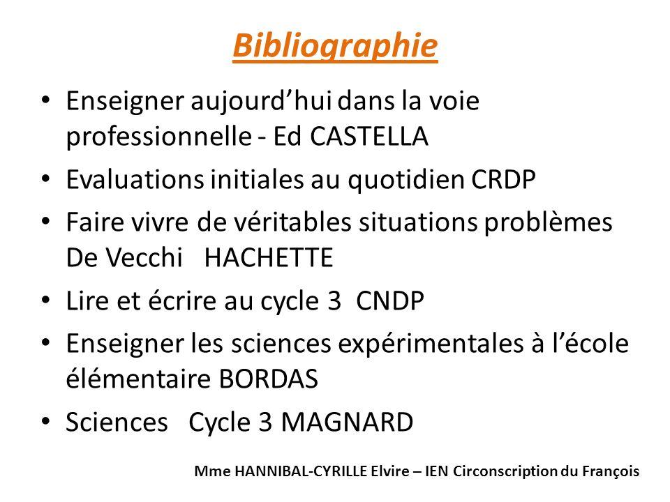 Bibliographie Enseigner aujourd'hui dans la voie professionnelle - Ed CASTELLA. Evaluations initiales au quotidien CRDP.