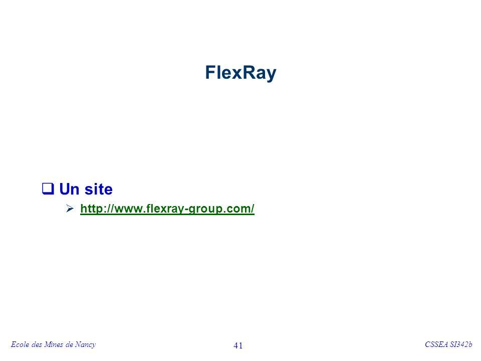 Origine de FlexRay 1999 – consortium BMW, Daimler Chrysler, Bosch, Delphi, Motorola, Philips, … Objectif : déterminisme + flexibilité.