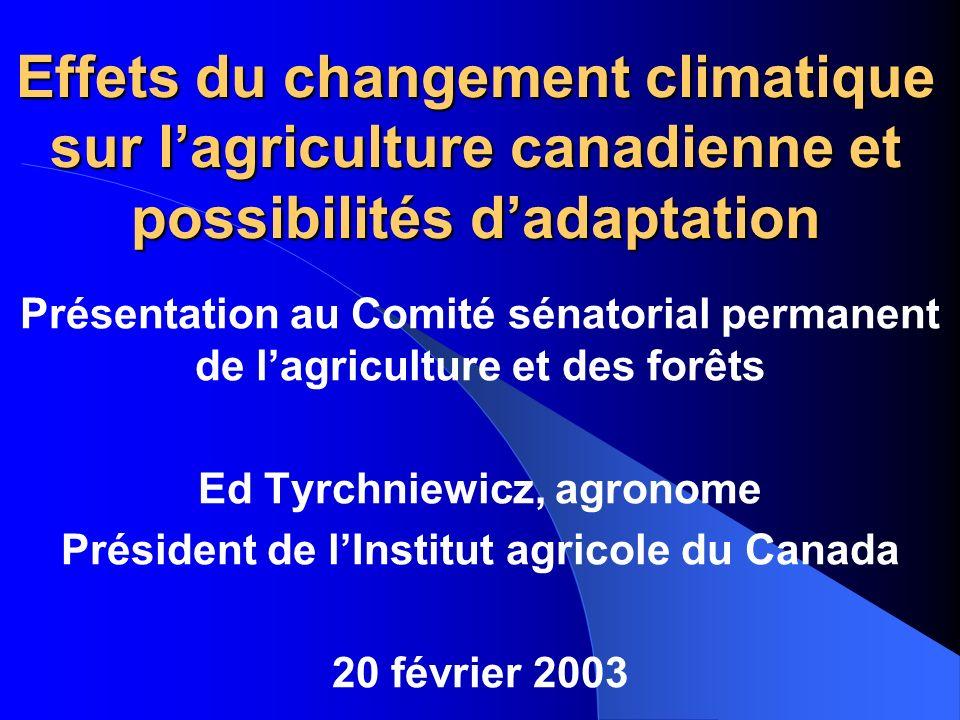 Ed Tyrchniewicz, agronome Président de l'Institut agricole du Canada