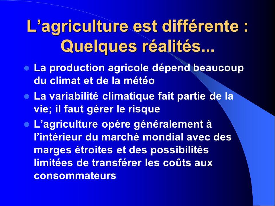L'agriculture est différente : Quelques réalités...