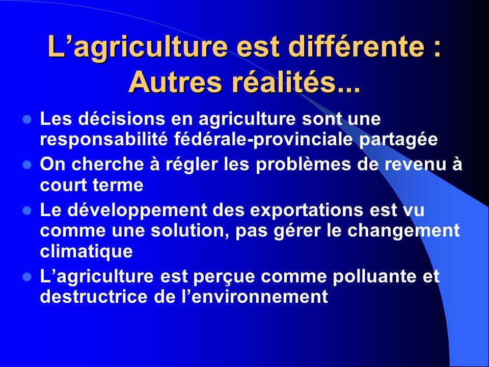 L'agriculture est différente : Autres réalités...