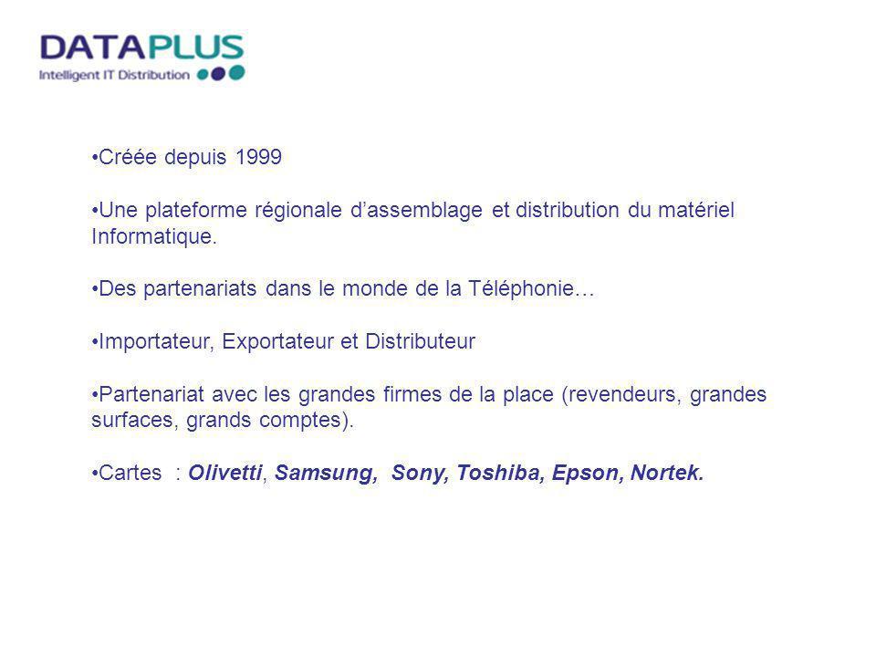 Créée depuis 1999 Une plateforme régionale d'assemblage et distribution du matériel Informatique. Des partenariats dans le monde de la Téléphonie…