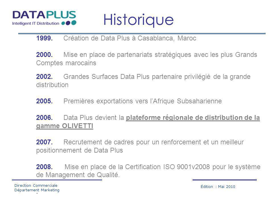 Historique 1999. Création de Data Plus à Casablanca, Maroc