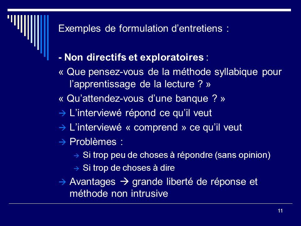 Exemples de formulation d'entretiens :