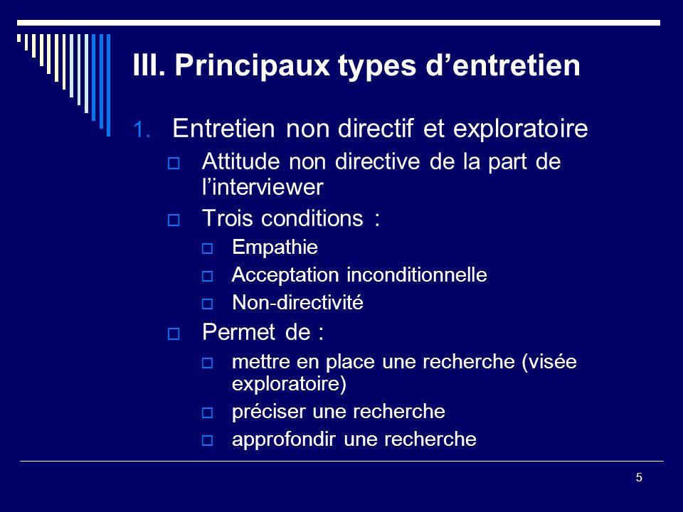 III. Principaux types d'entretien