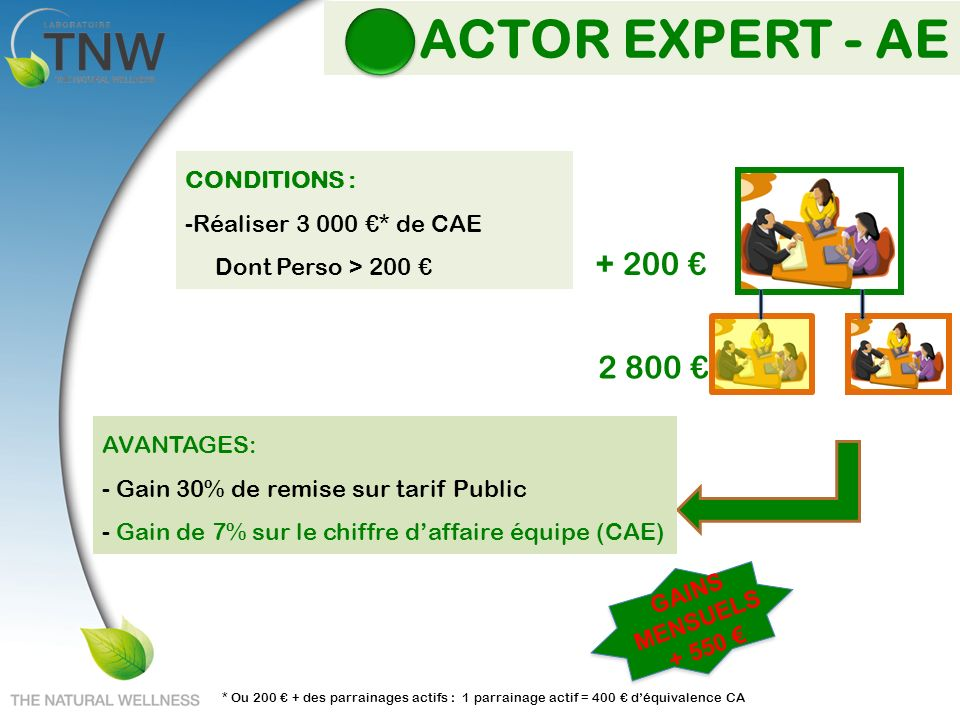 ACTOR EXPERT - AE + 200 € 2 800 € CONDITIONS :