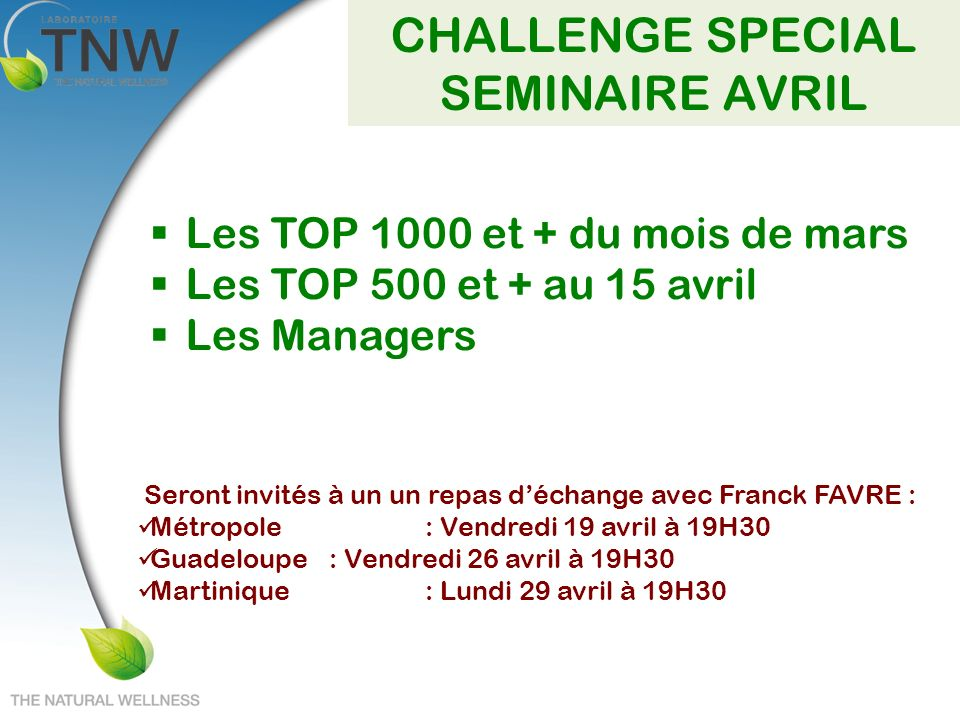 CHALLENGE SPECIAL SEMINAIRE AVRIL