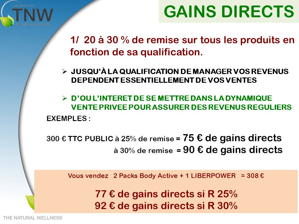 Vous vendez 2 Packs Body Active + 1 LIBERPOWER = 308 €