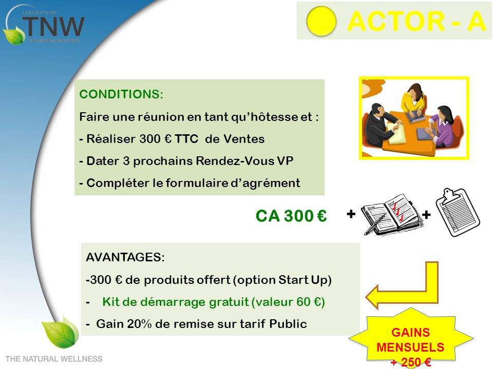 ACTOR - A + CA 300 € + CONDITIONS: