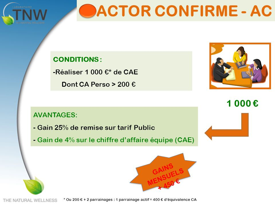 ACTOR CONFIRME - AC 1 000 € CONDITIONS : Réaliser 1 000 €* de CAE