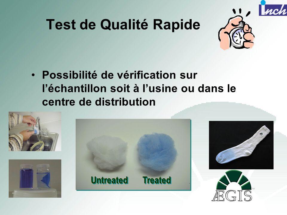 Test de Qualité Rapide Possibilité de vérification sur l'échantillon soit à l'usine ou dans le centre de distribution.