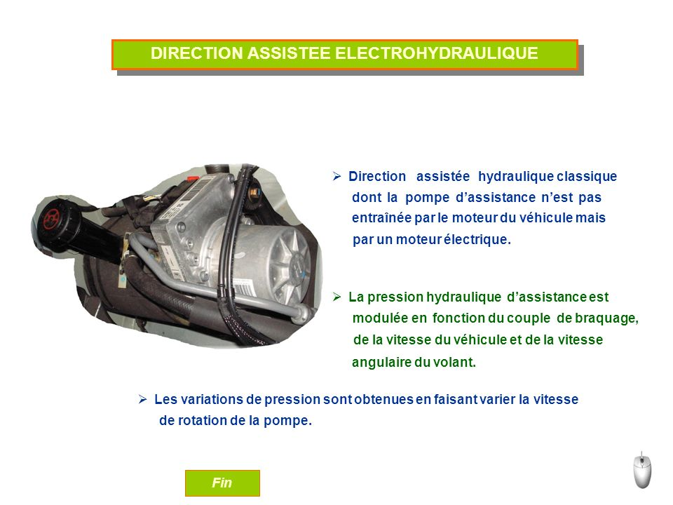DIRECTION ASSISTEE ELECTROHYDRAULIQUE