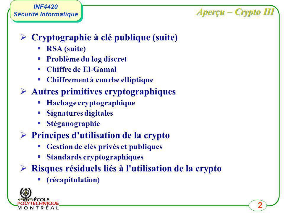 Cryptographie à clé publique (suite)