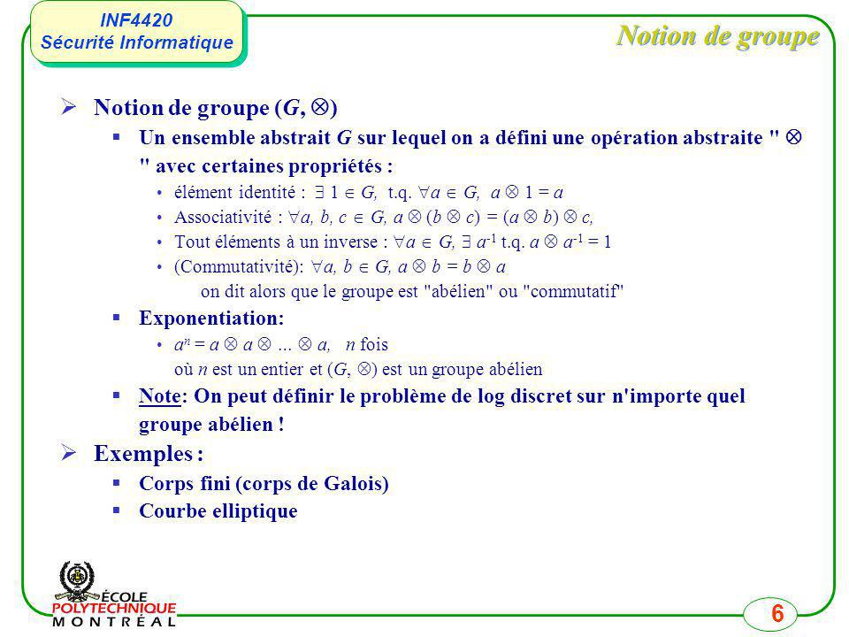 Notion de groupe Notion de groupe (G, ) Exemples :