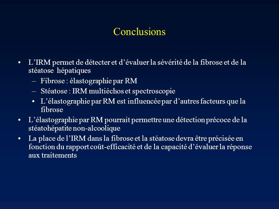 Conclusions L'IRM permet de détecter et d'évaluer la sévérité de la fibrose et de la stéatose hépatiques.