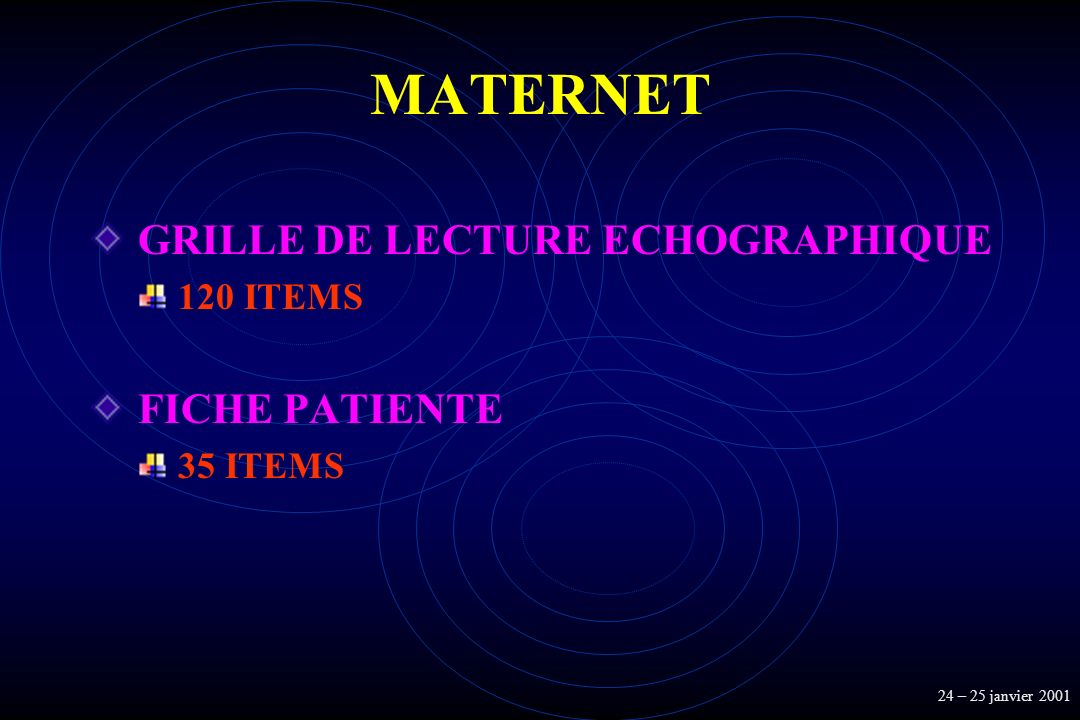 MATERNET GRILLE DE LECTURE ECHOGRAPHIQUE FICHE PATIENTE 120 ITEMS