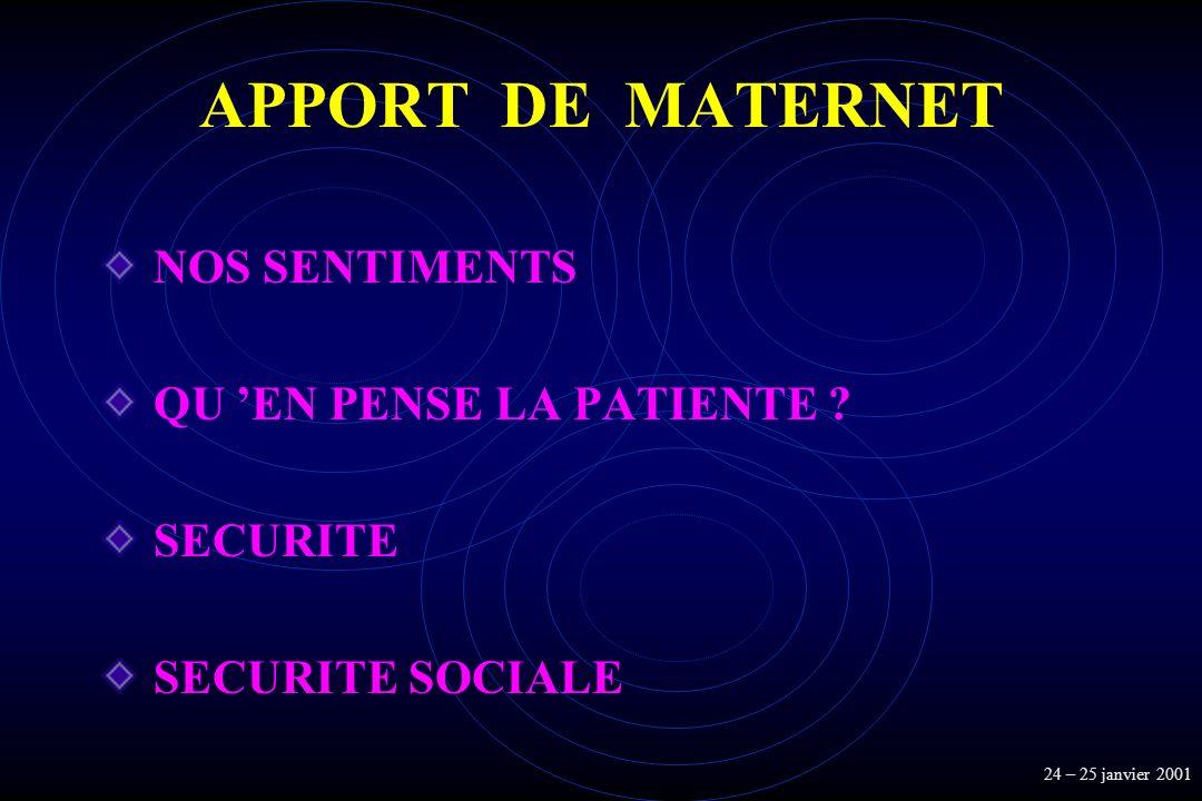 APPORT DE MATERNET NOS SENTIMENTS QU 'EN PENSE LA PATIENTE SECURITE