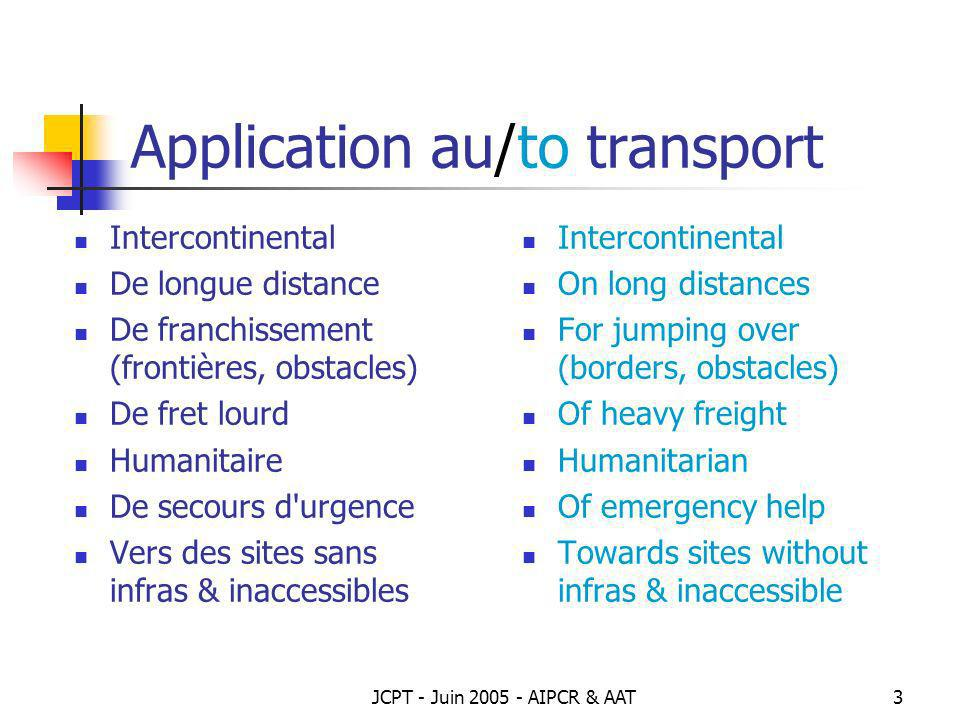 Application au/to transport