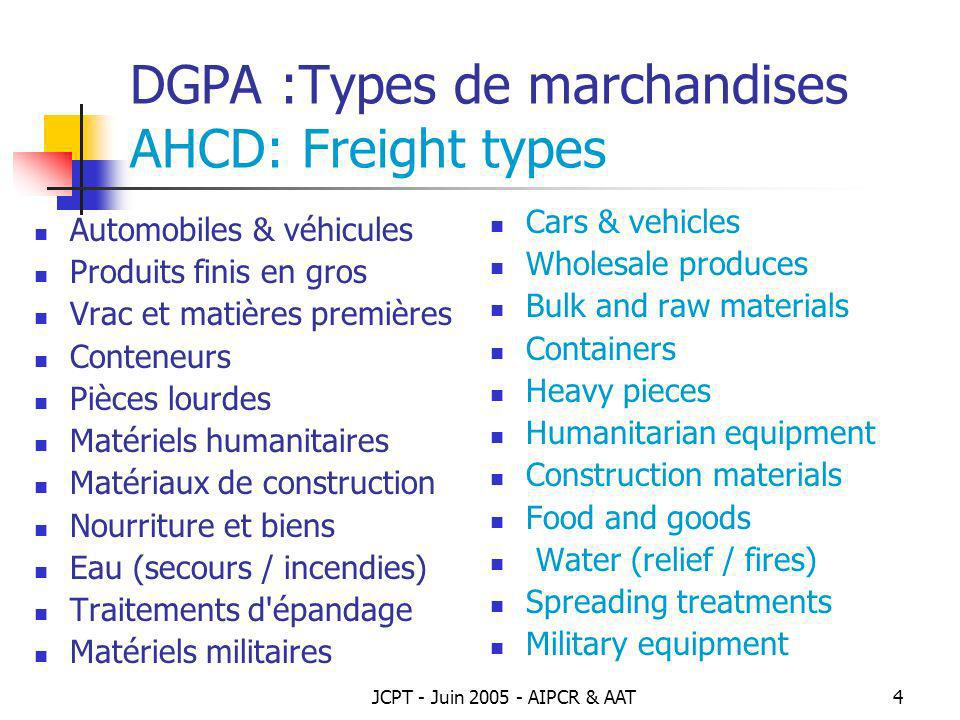 DGPA :Types de marchandises AHCD: Freight types