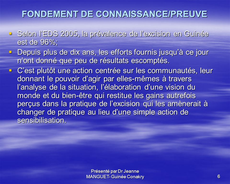 FONDEMENT DE CONNAISSANCE/PREUVE