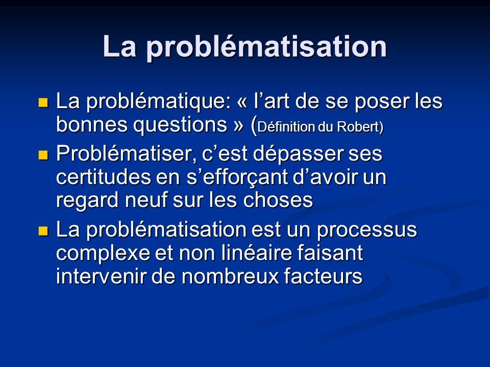 La problématisation La problématique: « l'art de se poser les bonnes questions » (Définition du Robert)