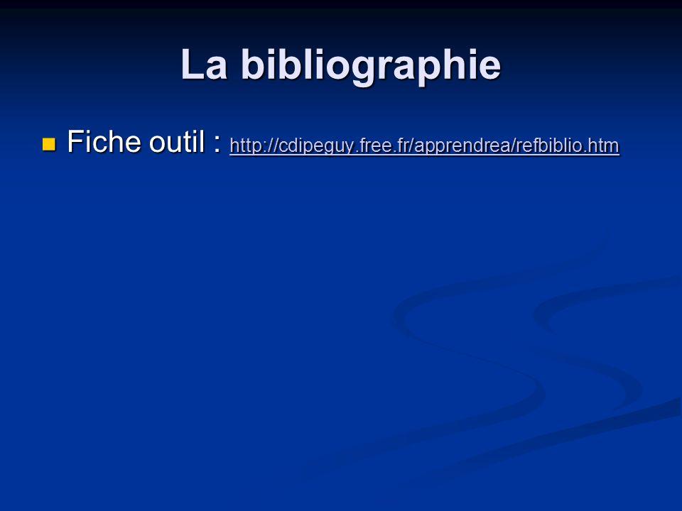 La bibliographie Fiche outil : http://cdipeguy.free.fr/apprendrea/refbiblio.htm