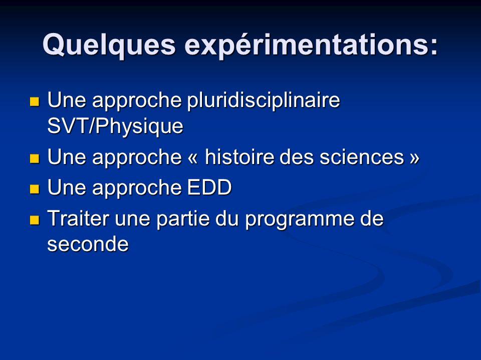 Quelques expérimentations: