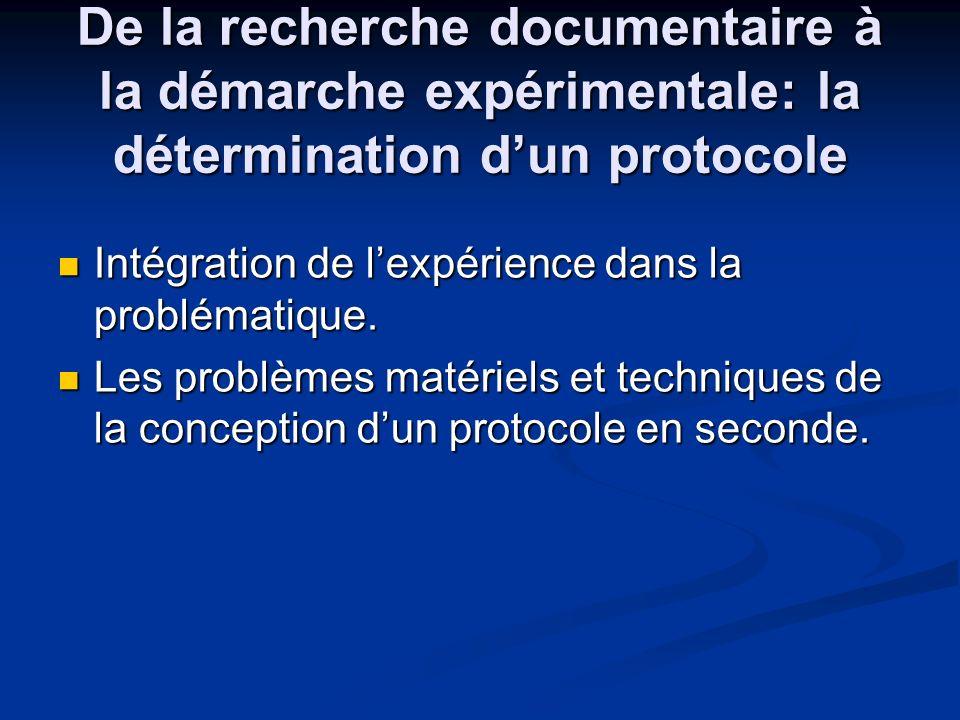 De la recherche documentaire à la démarche expérimentale: la détermination d'un protocole