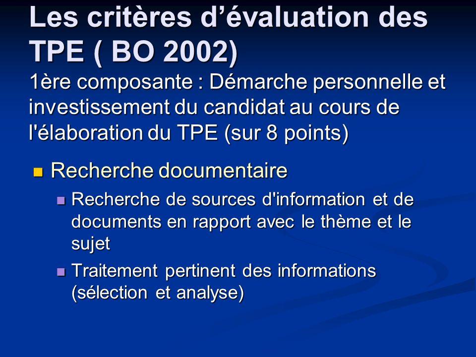 Les critères d'évaluation des TPE ( BO 2002) 1ère composante : Démarche personnelle et investissement du candidat au cours de l élaboration du TPE (sur 8 points)