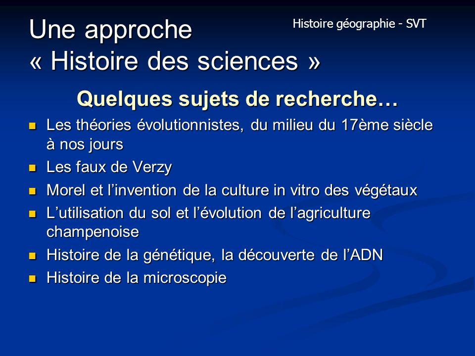 Une approche « Histoire des sciences »