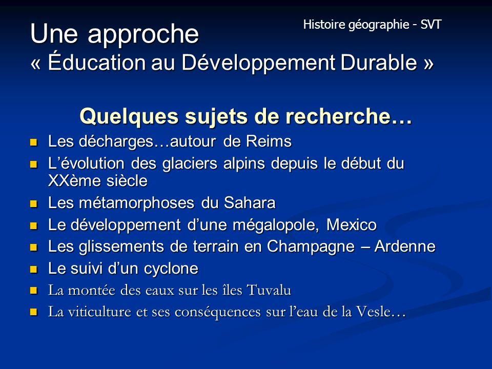 Une approche « Éducation au Développement Durable »