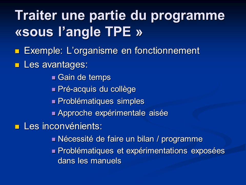 Traiter une partie du programme «sous l'angle TPE »