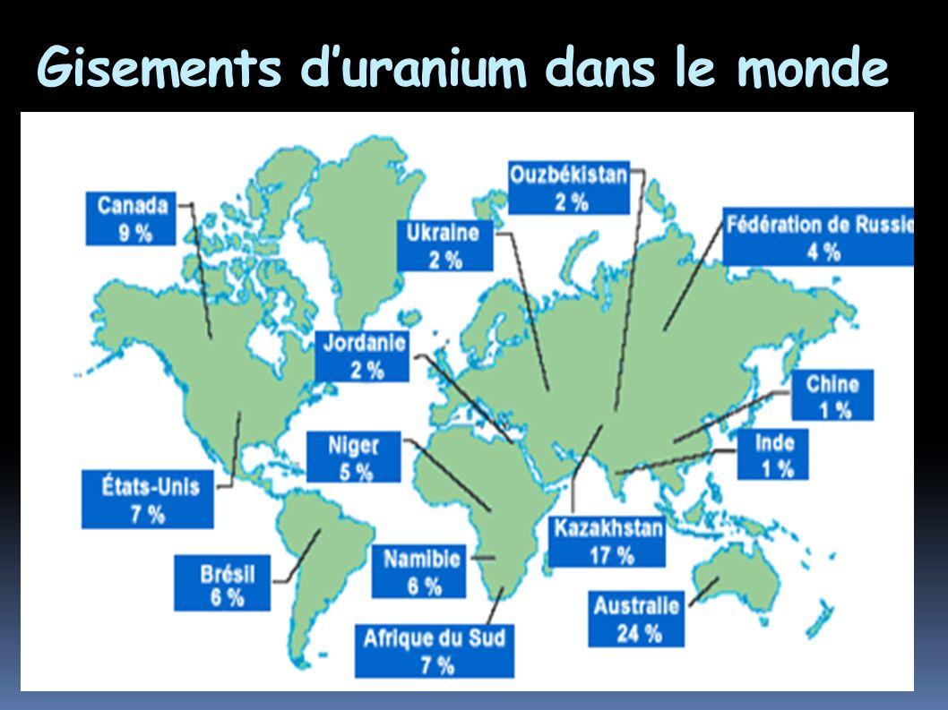 Gisements d'uranium dans le monde