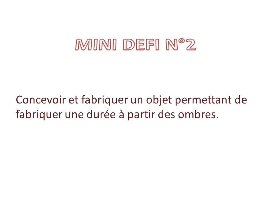 MINI DEFI N°2 Concevoir et fabriquer un objet permettant de fabriquer une durée à partir des ombres.