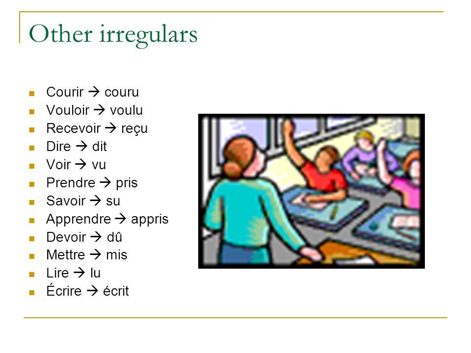 Other irregulars Courir  couru Vouloir  voulu Recevoir  reçu