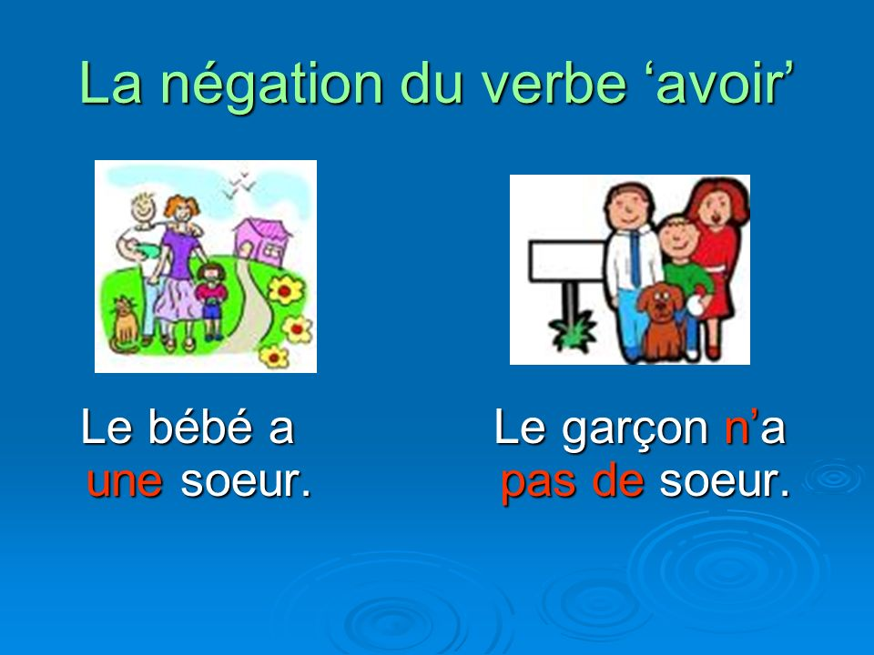 La négation du verbe 'avoir'
