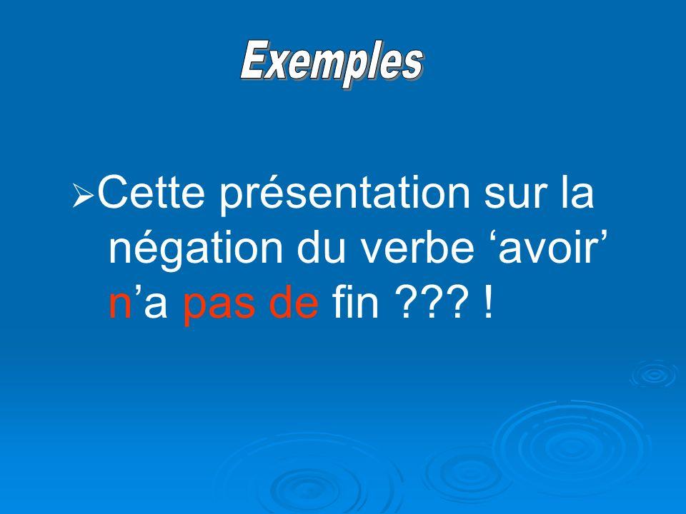 Exemples Cette présentation sur la négation du verbe 'avoir' n'a pas de fin !