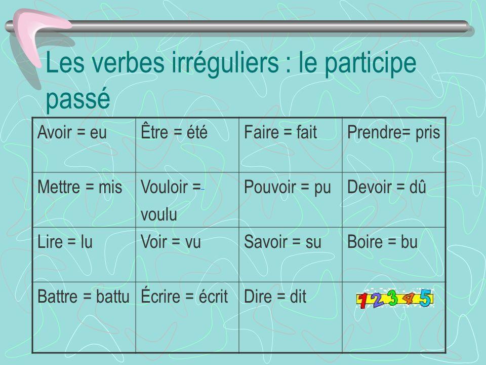 Les verbes irréguliers : le participe passé